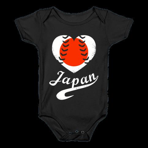 Japan Baseball Love  Baby Onesy