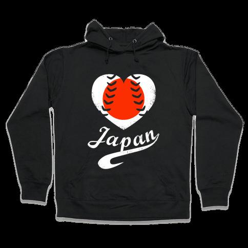 Japan Baseball Love  Hooded Sweatshirt