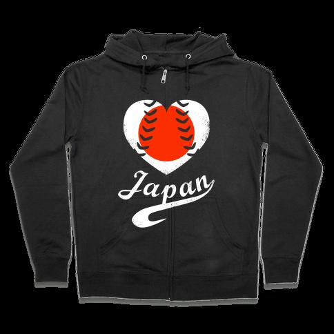 Japan Baseball Love  Zip Hoodie