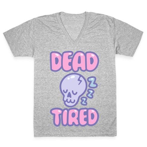 Dead Tired White Print V-Neck Tee Shirt