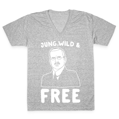 Jung Wild & Free Parody White Print V-Neck Tee Shirt