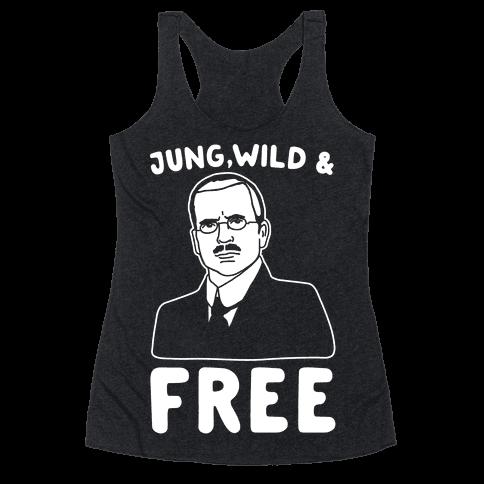 Jung Wild & Free Parody White Print Racerback Tank Top