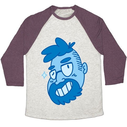 Cute Scruffy Dude (Blue) Baseball Tee