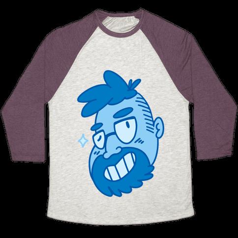 Cute Scruffy Dude (Blue) Baseball Tee