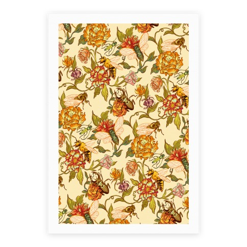 Florals & Hidden Insects Poster