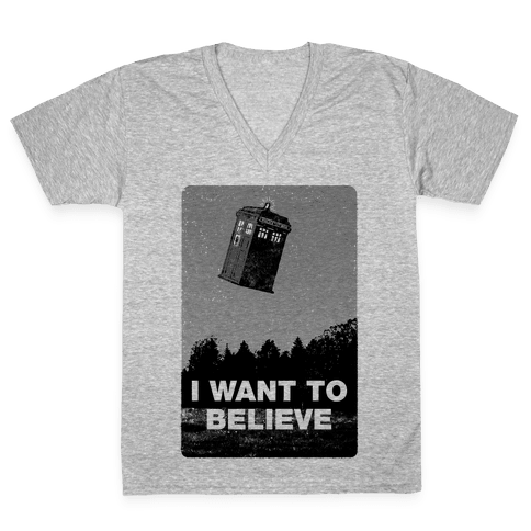 I Want To Believe (Doctor Who) V-Neck Tee Shirt