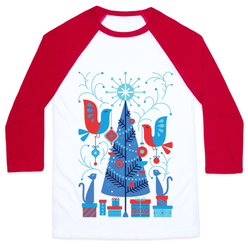 Vintage Christmas Tree Decorating Baseball Tee
