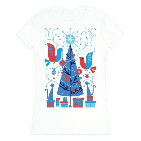 Vintage Christmas Tree Decorating Womens T-Shirt