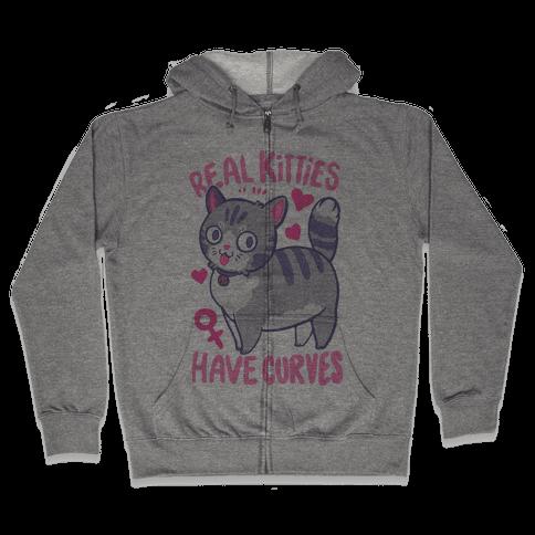 Real Kitties Have Curves Zip Hoodie