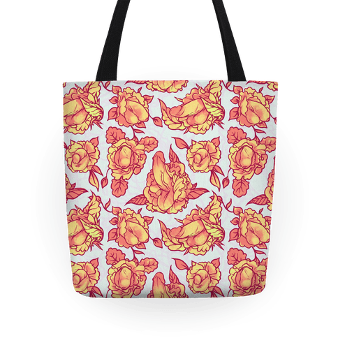 Floral Penis Pattern Orange Tote