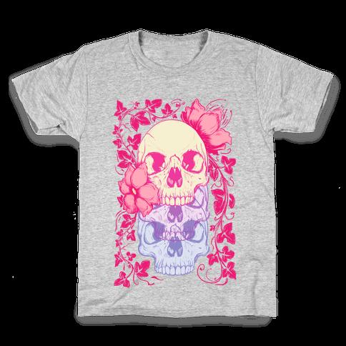 Skull of Vines and Flowers Kids T-Shirt