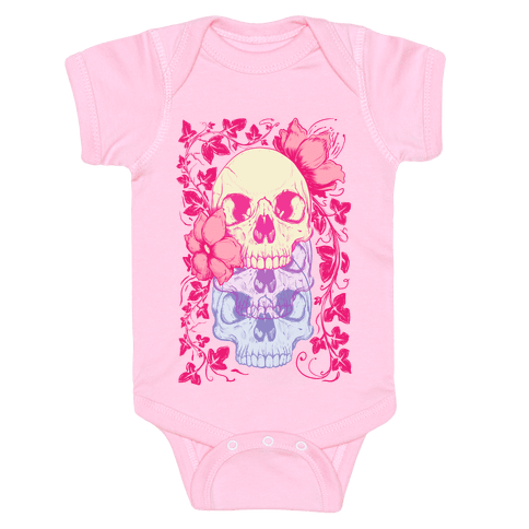 Skull of Vines and Flowers Baby Onesy