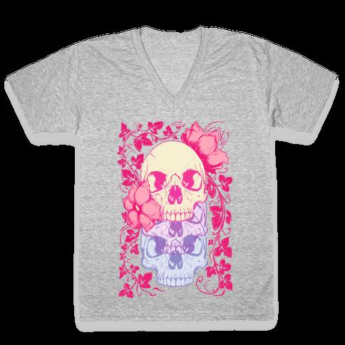 Skull of Vines and Flowers V-Neck Tee Shirt