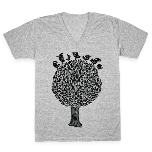 Birds on a Tree V-Neck Tee Shirt
