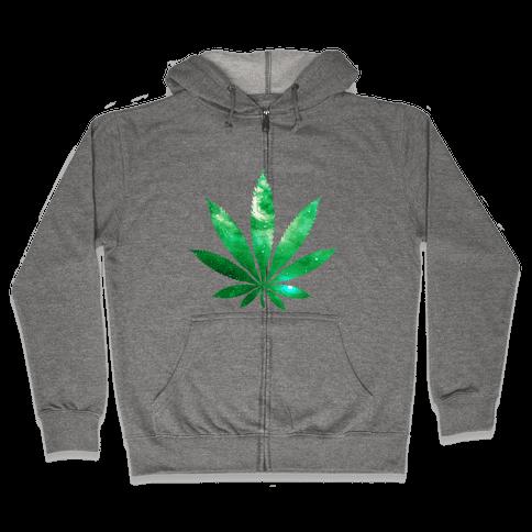 Galaxy Leaf Zip Hoodie