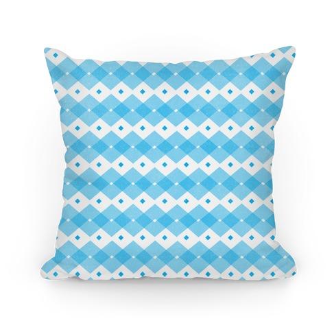 Blue Checkered Pattern Pillow