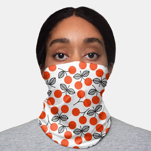 Vintage Cherry Pattern Neck Gaiter