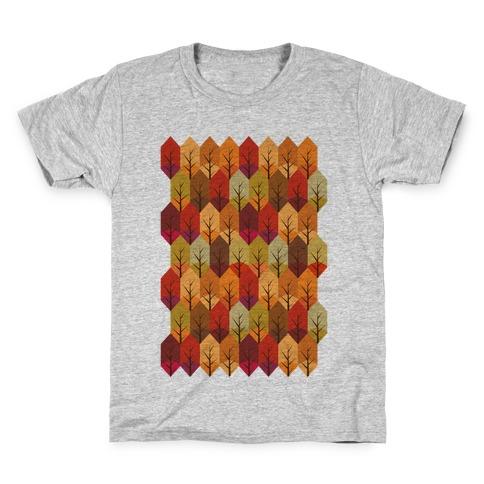 Geometric Fall Leaf Pattern Kids T-Shirt