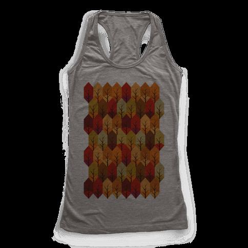 Geometric Fall Leaf Pattern Racerback Tank Top