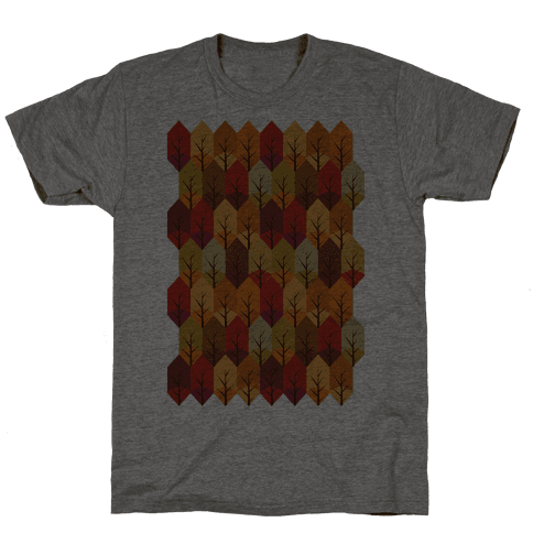 Geometric Fall Leaf Pattern Mens T-Shirt
