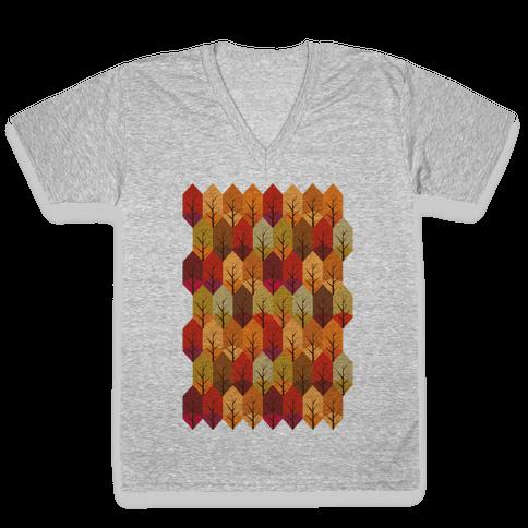 Geometric Fall Leaf Pattern V-Neck Tee Shirt