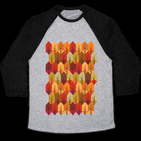 Geometric Fall Leaf Pattern Baseball Tee