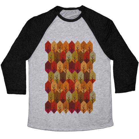Geometric Fall Leaf Pattern Baseball Tee