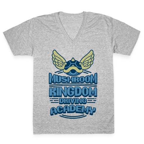 Mushroom Kingdom Driving Academy V-Neck Tee Shirt