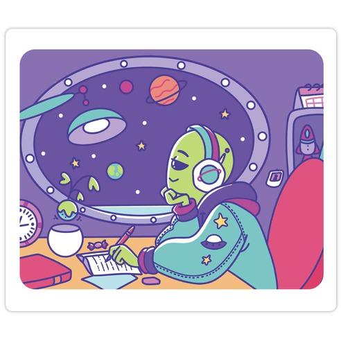 Chillhop Alien Die Cut Sticker