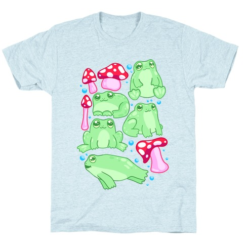 Frogs and Fungus Pattern T-Shirt