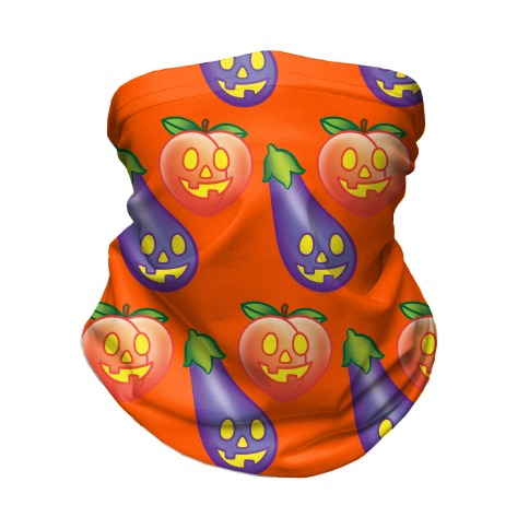 Eggplant and Peach Jack-O-Lantern Pattern Neck Gaiter