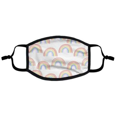 Hand Drawn Rainbow (White) Flat Face Mask
