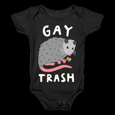 Gay Trash Opossum Baby Onesy