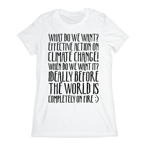 What Do We Want Effective Action On Climate Change Womens T-Shirt