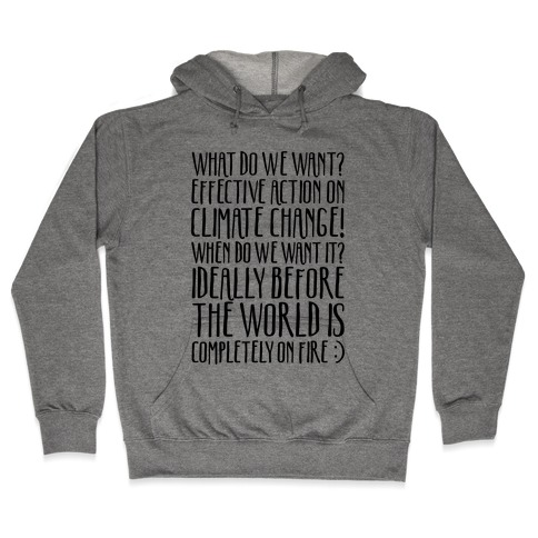 What Do We Want Effective Action On Climate Change Hooded Sweatshirt