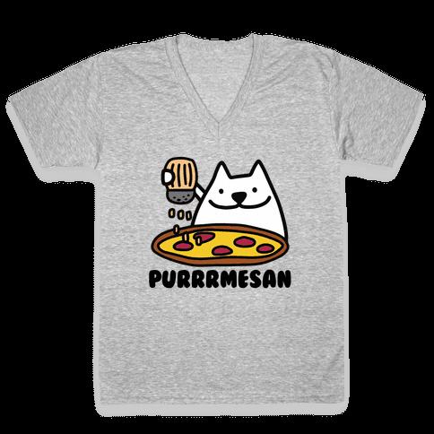 Purrrmesan V-Neck Tee Shirt