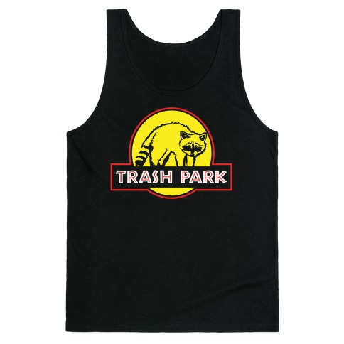 Trash Park Raccoon Parody White Print Tank Top