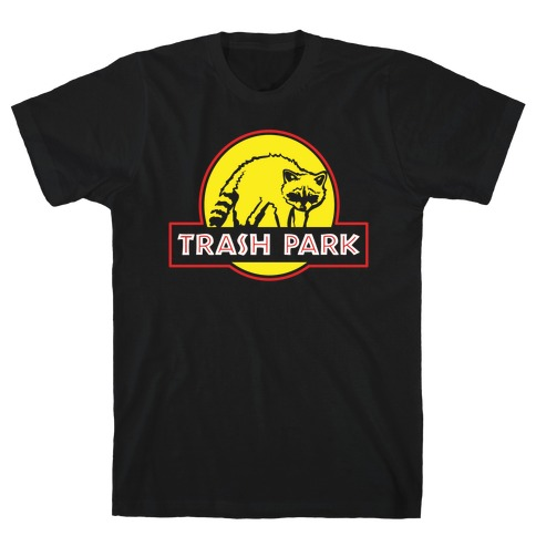Trash Park Raccoon Parody White Print T-Shirt
