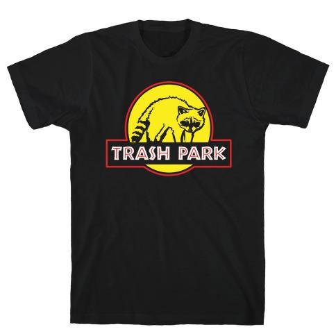 Trash Park Raccoon Parody White Print T-Shirt