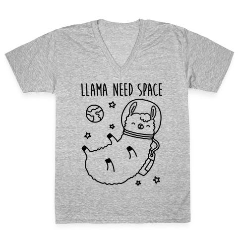 Llama Need Space Parody V-Neck Tee Shirt