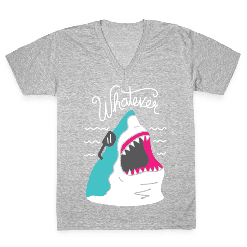 Whatever Shark V-Neck Tee Shirt