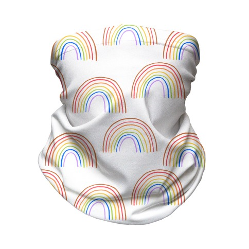 Hand Drawn Rainbow (White) Neck Gaiter