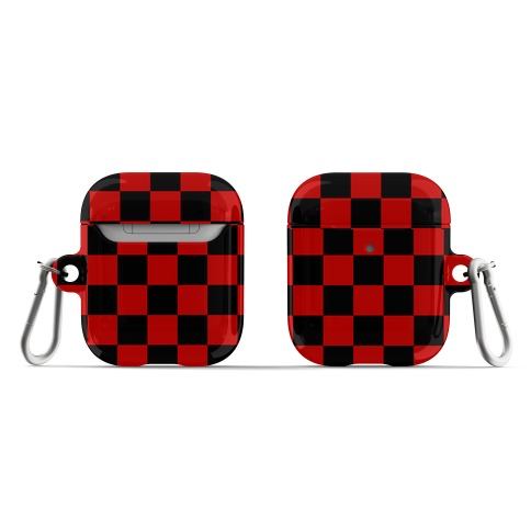 Checkered Black and Red AirPod Case