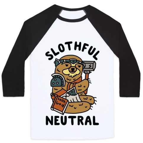 Slothful Neutral Sloth Cleric Baseball Tee