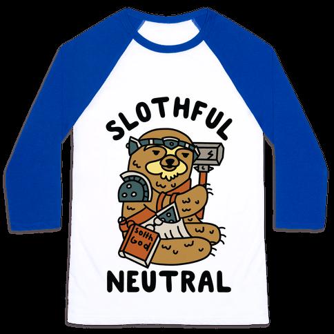 Slothful Neutral Sloth Cleric Baseball Tee