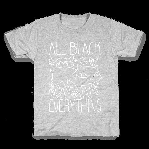 All Black Everything Cat Kids T-Shirt