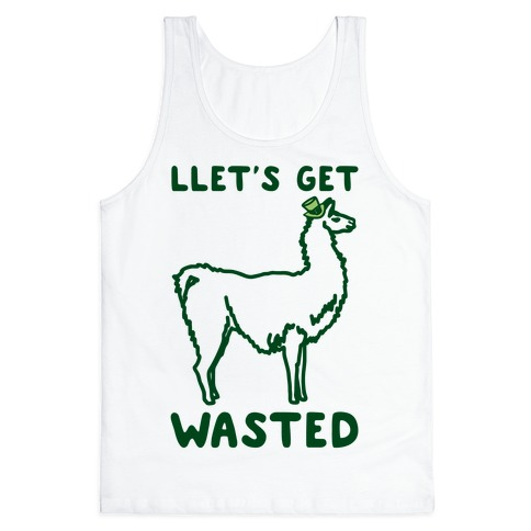 Llet's Get Wasted St. Patrick's Day Llama Parody Tank Top