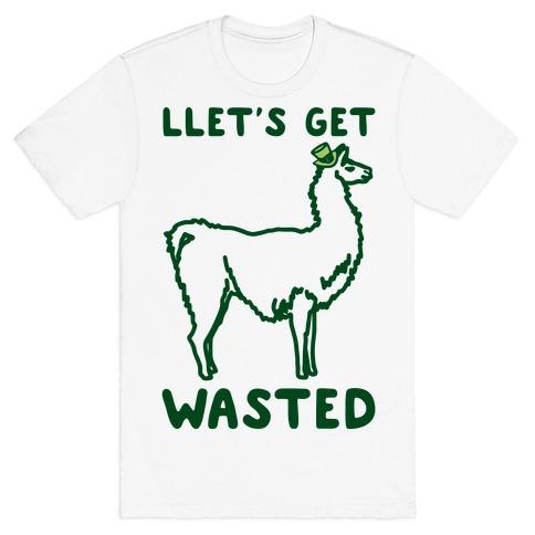 Llet's Get Wasted St. Patrick's Day Llama Parody T-Shirt
