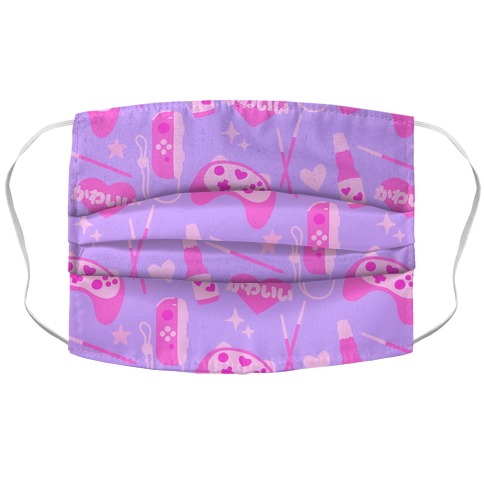 Kawaii Gamer Pattern Accordion Face Mask