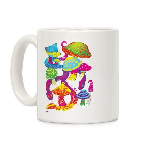 Psychadellic Snake Among Mushrooms Coffee Mug